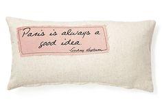 "One Kings Lane - Pillow Talk - Hepburn ""Paris"" 12x24 Pillow, Natural"