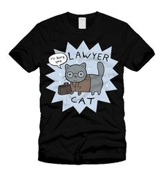 Lawyer Cat threatened to sue if we didn't make him his own t-shirt... Features a print of Lawyer Cat on a black American Apparel (2001 unisex/2...
