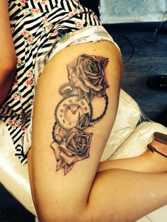 Clock and roses thigh tattoo by Bob Swain