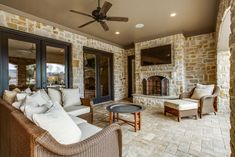 Traditional Porch with Clay & Brick Pavers, Fieldledge Stone Veneer