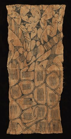 "Mbuti Pygmy Barkcloth, Pongo Ituri Forest, DR Congo 20th century Pounded ficus bark painted with natural pigments 82 x 37 cm (32 1/4"" x 14 1/2"")"