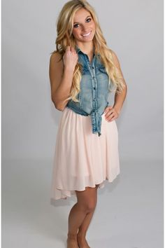 Denim & light pink dress.