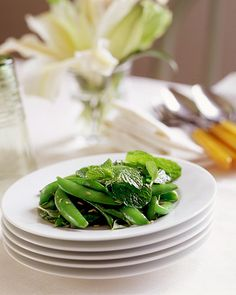 Sugar Snap Peas with Mint    You can often use herbs as one would salad greens: whole leaves tossed together with traditional salad ingredients. Here, the classic pairing of peas and mint gets reinterpreted by leaving the mint leaves whole and using sugar snap peas.    Get the Pea Recipe