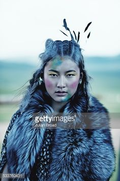 ULAANBAATAR, MONGOLIA - JULY 14: A model poses for a fashion shoot for Harrods magazine on July 14, 2014 in Ulaanbaatar, Mongolia. (Photo by Julian Broad)