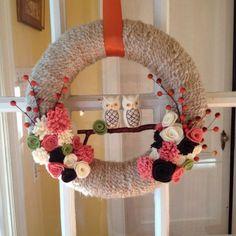 diy felt flowers and owl yarn wreath with red ribbon - twig, hanging decoration