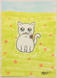#ACEO TW May Original #Cat #Kitten #Flowers #Floral #Kitty drawing Cute #Miniature