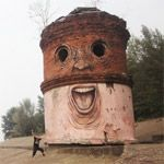With a double dose of wit and color Nomerz transforms derelict buildings, towers, and crumbling urban spaces into whimsical, quirky faces in locations around Nizhny Novgorod, Russia.