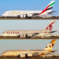 It's #voting time! What is your favorite Gulf carrier: Emirates, Qatar Airways, or Etihad? :) Results will be frequently posted! A380s shot by @lush_aviation #poll #vote #airbus #A380 #airbusA380 #airbuslovers #emirates #الإمارات #etihad #الاتحاد #QatarAirways #القطرية #qatar #uae #aviapics4u #travel #aviation #plane #flight #airplane #instatravel #avgeek #aircraft #planes #airplanes #instaplane #planespotting #planeporn #instagramaviation @emirates @qatarairways @etihadairways