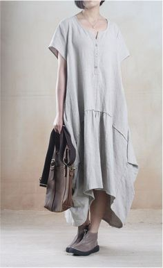 Linen Dress in Light Gray – Lily & Co.