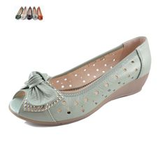 2013 cowhide open toe shoe wedges female sandals genuine leather bow flat cow muscle single shoes outsole women's shoes $23.00
