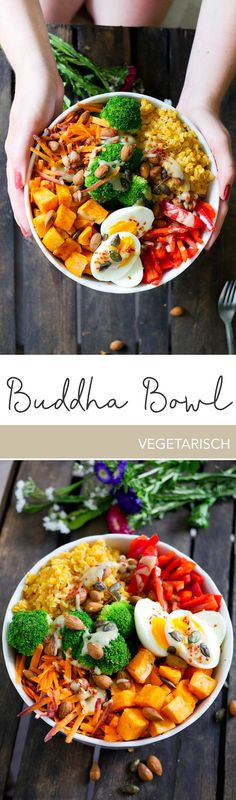 Clean eating trend: Rainbow Buddha Bowl - Suitable for the cold season, I have a wonderfully colorful Rainbow Buddha Bowl for you. Healthy Eating Recipes, Veggie Recipes, Vegetarian Recipes, Bol Buddha, Lunches And Dinners, Meals, Easy Chicken Dinner Recipes, Paleo Dinner, International Recipes