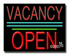 """Vacancy Open Neon Sign - Block Text - 24""""x31""""-ANS1500-1428-1g  31"""" Wide x 24"""" Tall x 3"""" Deep  Sign is mounted on an unbreakable black or clear Lexan backing  Top and bottom protective sides  110 volt U.L. listed transformer fits into a standard outlet  Hanging hardware & chain included  6' Power cord with standard transformer  Includes 2nd transformer for independent OPEN section control  For indoor use only  1 Year Warranty on electrical components."""
