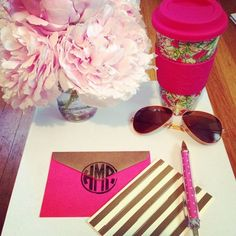 preprica:  Wrote some thank you cards for all of the lovely graduation gifts I received! #pinkandgold #raybans #lillypulitzer #peonies