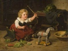 Art by Hermann Sondermann Blind Man's Bluff, Parlor Games, Childhood Games, Model Airplanes, Horses, Toys, Children, Painting, Youth
