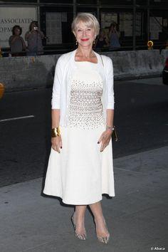 helen mirren Red Carpet Dresses | Helen Mirren posed on red carpet in a white dress at the New York ...