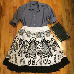 Lovely Swing Print Circle Skirt Black and white with elastic waistband. Fully kind for no show through. Well loved and cared for with price accounting wear (marks shown in pics). Thanks for looking! 20% off bundles! Skirts