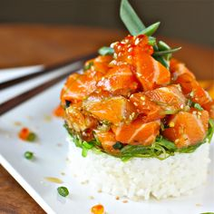Hawaiian-style Salmon Poke. This looks awesome, though I haven't enough nerve yet to try my own sushi-grade fish.