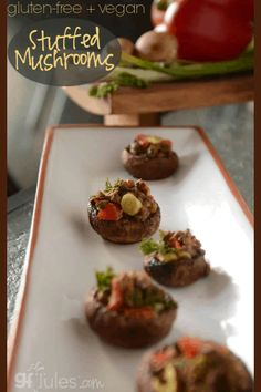 These vegan gluten free stuffed mushrooms are a beautiful and well-loved appetizer just perfect for game days fancy parties or a Thursday night appetizer. Gluten Free Baking, Vegan Gluten Free, Gluten Free Recipes, Fancy Appetizers, Gluten Free Appetizers, Easy No Bake Desserts, Dessert Recipes, Appetizer Recipes, Baking Recipes