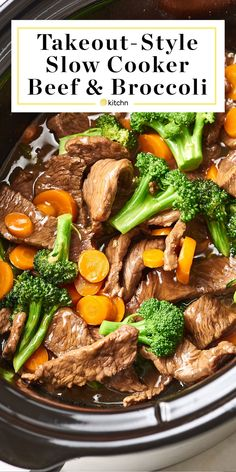 Slow Cooker Beef and Broccoli That's Better Than Takeout. Need recipes and ideas for easy dinners and meals for families? Make this in your crockpot for a simple fast chinese food dinner. You'll need beef broth, oyster sauce, garlic, brown sugar, f Crockpot Steak Recipes, Crockpot Beef And Broccoli, Sirloin Steak Recipes, Easy Beef And Broccoli, Broccoli Recipes, Slow Cooker Recipes, Beef Recipes, Broccoli Rice, Healthy Recipes