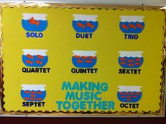 Music room bulletin board. Fish bowls and fish name ensemble groupings. 1 fish for solo, 2 fish for duet, etc.