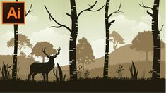 Vintage Graphic Design Adobe Illustrator CC Tutorial How to Make a Forest Background for Beginners - Photoshop For Photographers, Photoshop Tutorial, Photoshop Actions, Adobe Photoshop, Forest Drawing, Character Design Tutorial, Adobe Illustrator Tutorials, Ai Illustrator, Forest Background