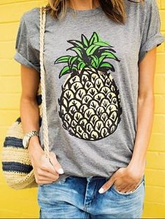 Pineapple Loose T-Shirt at Romwe - Trendslove