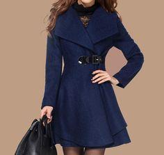 Blue Long Coat/Winter Coat/Woman coat/ Long by Eloneeclothing, $85.00