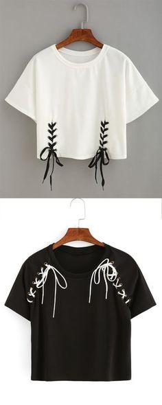Double Lace-Up Hem Crop T-shirt                                                                                                                                                     More