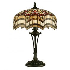 The Vesta range features a dramatic design based on traditional Tiffany themes with floral elements and a scalloped theatrical curtain style edged border. Glass Table Lamp, Stained Glass Light, Glass Table, Lamp, Stained Glass Lamps, Marble Bistro Table, Curtain Styles, Stained Glass Table Lamps, Light Fittings