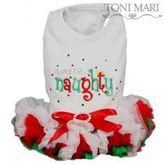 Toni Mari A Wee Bit Naughty ruffle chiffon dog Christmas vest dress petti tee shirt