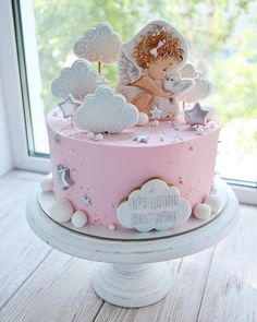 Torta Angel, Angel Cake, Buttercream Cake, Fondant Cakes, Cupcake Cakes, Sweet Cakes, Cute Cakes, Christian Cakes, Christening Cake Girls