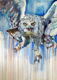 ARTFINDER: Snowy owl by Kovács Anna Brigitta - Original watercolour painting on high quality watercolour paper. I love landscapes, still life, nature and wildlife, lights and shadows, colorful sight. Thes...
