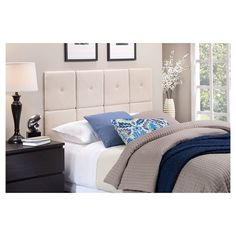 Upholstered Linen Headboard Tiles   Natural
