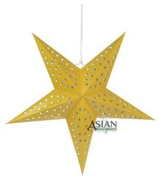 """Solid Yellow Star Lantern by Asian Import Store, Inc.. $4.25. This beautiful star lantern is solid Yellow with beautiful star cutouts on it.. Dimensions: 24"""". (All star lanterns sold without cord or battery terminal, cord or battery terminal must be purchased separately). These are the unique star lamps which you have seen on MTV's unplugged concert series or have seen decorating concert stages. These are the unique star lamps which you have seen on MTV's unplug..."""