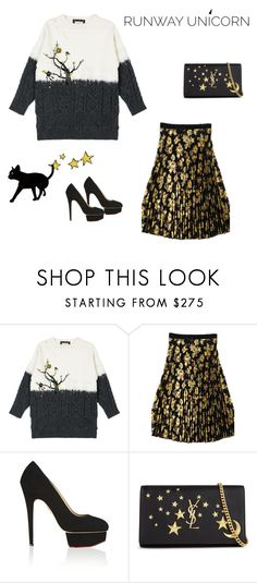 """""""Magic Ume Blossom under Stars"""" by runwayunicorn on Polyvore featuring Charlotte Olympia and Yves Saint Laurent"""