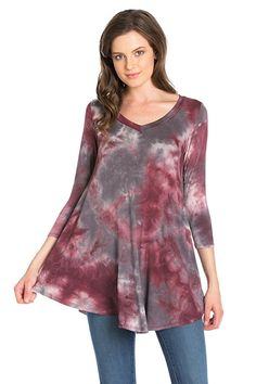 Look what I found on Wine Charcoal Tie-Dye V-Neck Swing Tunic - Plus Too by Frumos Tunic Tops For Leggings, Long Tunic Tops, Tie Dye Designs, Neck T Shirt, Charcoal, V Neck, Turquoise, Tunics, Sleeves
