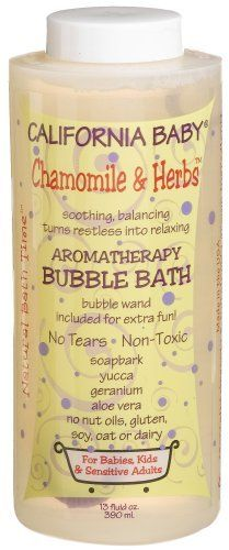 California Baby Bubble Bath - Chamomile & Herbs, 13 oz by California Baby. $16.00. 13 oz / 390 ml bottle with twist cap. Safe for newborns and older. Use to relax and refresh. Scented with geranium, sweet orange, and chamomile to give this bubble bath a sweet herbal garden scent. This is our multi-talented bubble bath! A beautiful, fruity and earthy blend that works extremely well in combination with our 1/2 ounce essential oils. This is the workhorse of the bunch; a good b...