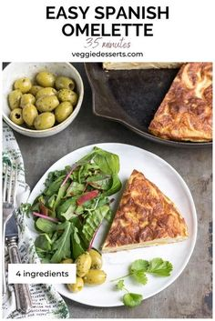 Whip up this tasty classic Spanish Omelette in 25 minutes with 4 simple pantry ingredients. This tortilla recipe is delicious served hot or cold and makes a great breakfast, lunch, dinner or tapas. Quick Vegetarian Dinner, Quick Dinner Recipes, Vegetarian Recipes Dinner, Veggie Recipes, Breakfast Dishes, Breakfast Recipes, Breakfast Ideas, Spanish Omelette, Tortilla Recipe
