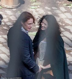 Lovers: Caught in a passionate embrace, the show's protagonist - played by Caitriona Balfe - highlights the plentiful romance quota in the period show, which is based on the books by Diana Gabaldon