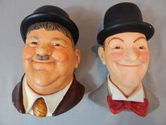Wonderful Vintage Pair of Laurel and Hardy Heads by Legend Products of England, Dated 1984, Signed Wright by SlyfieldandSime on Etsy