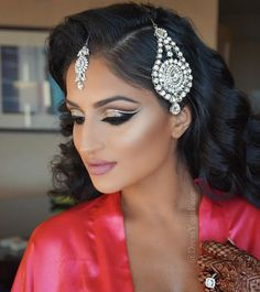 """""""Today ❤️ Nothing less than a double cut crease with glitter for my gorgeous SD bride @apneetmann, hair by @fpinasco using my @bombayhair…"""""""