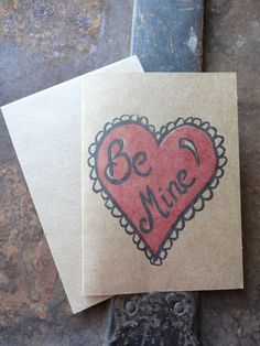 Valentine's Day Stamped Kraft Paper Note Card, Be Mine, Heart,  Love, Hugs & Kisses, Hand Carved Stamp, Stamped, Two Tone by TheFoxesTail on Etsy