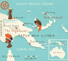 It is important to recognise Papua New Guinea separate to Papua, Indonesia. Whilst they neighbour as countries, their coffees stand apart and are remarkably different. (Image: Zara Picken for Lonely Planet Magazine) Pacific Map, South Pacific, Pacific Ocean, Vanuatu, West Papua, Map Globe, Magazine Illustration, Thinking Day, World Maps