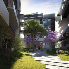 Six Degrees has designed a medium-rise apartment complex in West Melbourne that aims to create a campus-style community.
