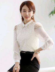 Faddish Beads Pointed Collar Shirt for Women | Item Code 705207 at M.EastClothes.com