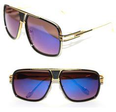 Men's Women's Aviator Mach 1 Sunglasses Black Gold Blue Lens Grandmaster Hip Hop #Unbranded #Aviator