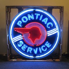 Neon Sign in Metal Can - Pontiac Service 36 Inch – Oldies of Usa Partners