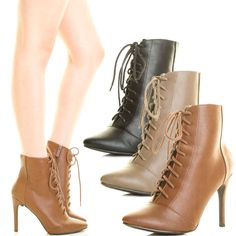 Women Military Combat Ankle Boot Booties Stiletto Heel Lace Up Zip Closed Toe US #US #Booties #Casual