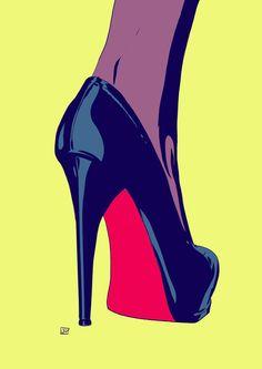 Louboutin black stilletto pop art