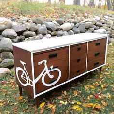 I love how this fun mid century piece turned out. While most people wouldn't think to paint a bike on a 5 legged Basset dresser, I think that's exactly what it needed!